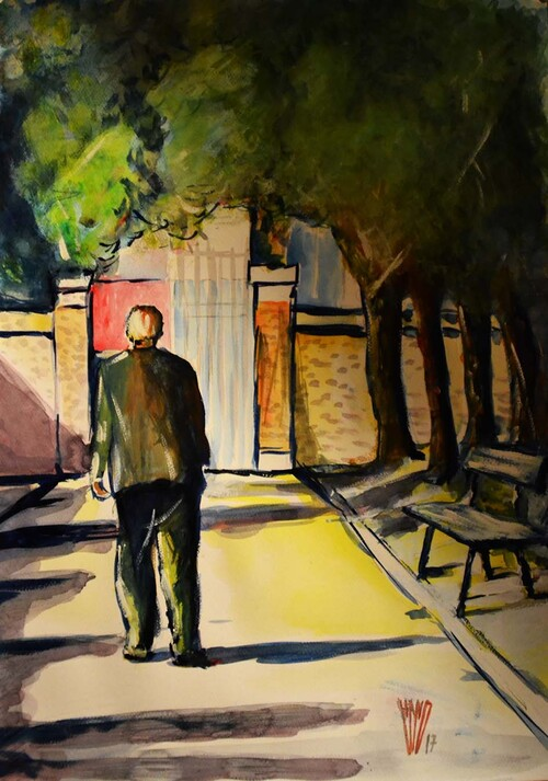 """Passage du temps""   aquarelle  50X70"