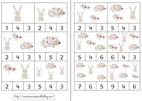 Cartes à compter sur le printemps... tout doux..  (1 à 9)