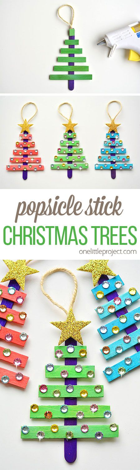 These popsicle stick Christmas trees are SO EASY to make and they're so beautiful! The kids loved decorating them! Such an awesome dollar store Christmas craft idea!!: