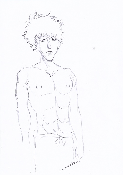 Croquis Manga au stylo noir