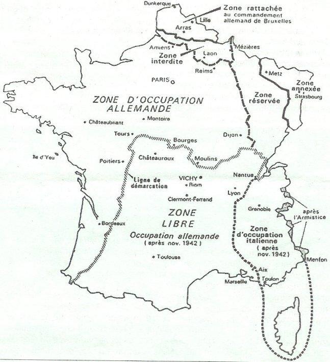 la carte de France en 1940 : un pays partagé