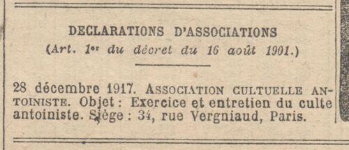 Paris - Journal officiel de la République française. Lois et décrets 10 jan. 1918