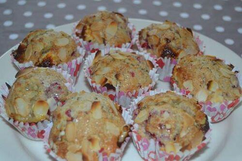 Muffins au chocolat blanc et framboises