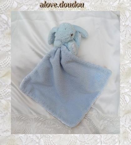 Doudou Peluche Lapin Tartine Et Chocolat Bleu Mouchoir