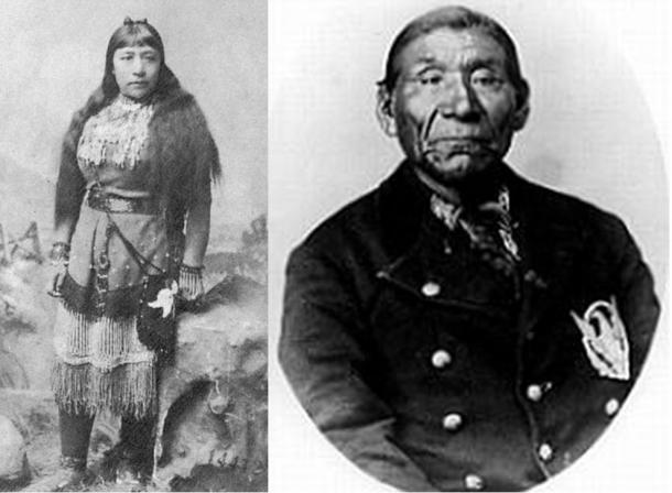 Sarah Winnemucca, Paiute Writer and Lecturer, alongside her father and Chief Poito Winnemucca of the Paiute Natives in Nevada. Circa 1882.