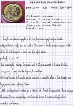 crèmes brulées courgettes basilic e