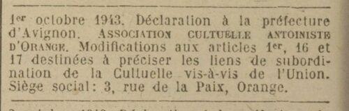 Orange (Journal officiel de la République française. Lois et décrets 22 oct 1943)