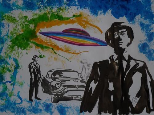 Nouvel Essais, sur l' UFOLOGIE, à partir des dessins d' ERIC BOUVET