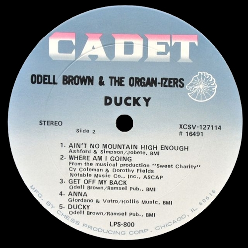 """Odell Brown & The Organ-izers : Album """" Ducky """" Cadet Records LPS 800 [ US ]"""