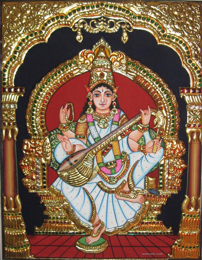 tanjore painting saraswathi