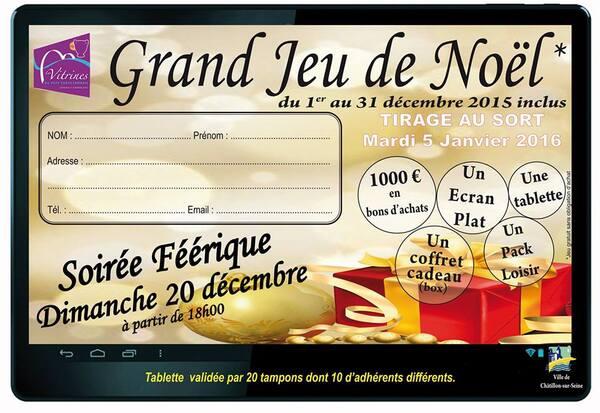 Le grand jeu de Noël et les animations des Vitrines Châtillonnaises auront lieu du 1er décembre au 31 décembre 2015