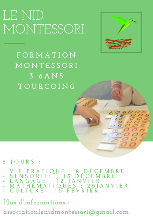 Formation Montessori 3/6 ans à Tourcoing (proche Lille)