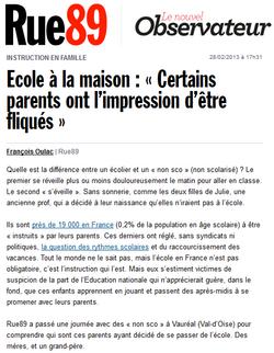 Article sur l'école à la maison sur Rue89