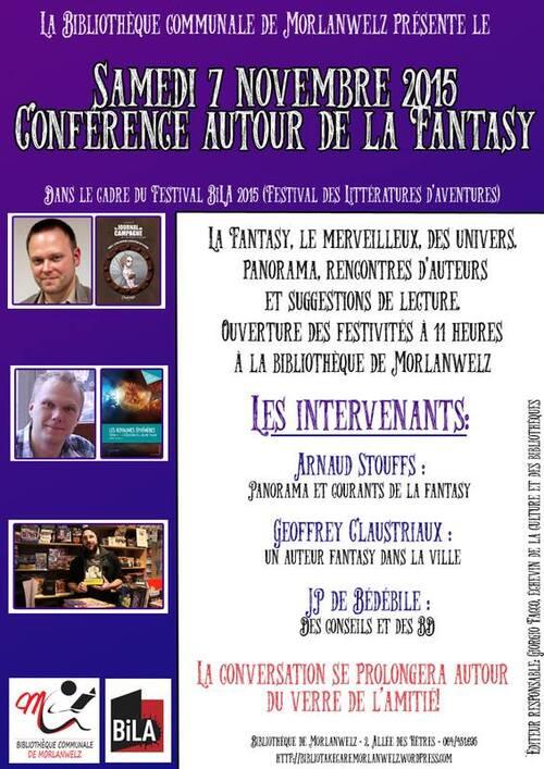 Conférence sur la FANTASY à la bibliothéque de Morlanwelz le 7 novembre