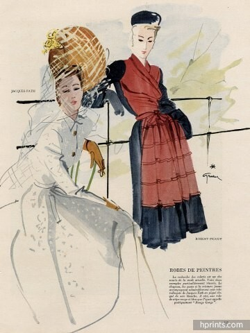 René Gruau 1945 Jacques Fath & Robert Piguet, Fashion Illustration