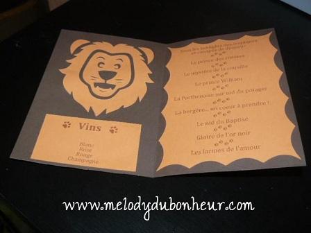 """Prototype de menu thème """"lion"""""""