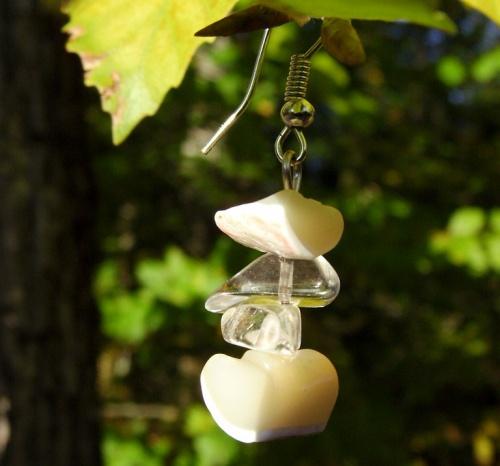 boucles d'oreilles en pierres semi précieuses génuine et quartz