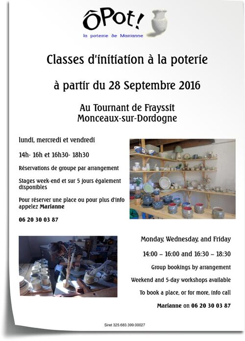 Cours de poterie à Monceaux