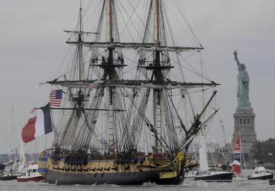 La réplique de la frégate de La Fayette, a rejoint le port de New York. - La réplique de la frégate de La Fayette, a rejoint le port de New York. - (Photo NR, Patrick Lavaud)