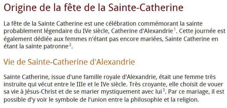 ** JOUR DE LA Ste CATHERINE**