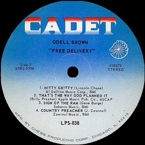 "Odell Brown : Album "" Free Delivery "" Cadet Records LPS 838 [ US ]"