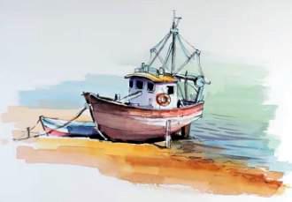 Dessin et peinture - vidéo 2123 : Le chalutier à marée basse - Stylo et aquarelle.