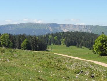 De gauche droite : Le Mont d'Or (1461m), falaises, le Mont-Rond (1419m)