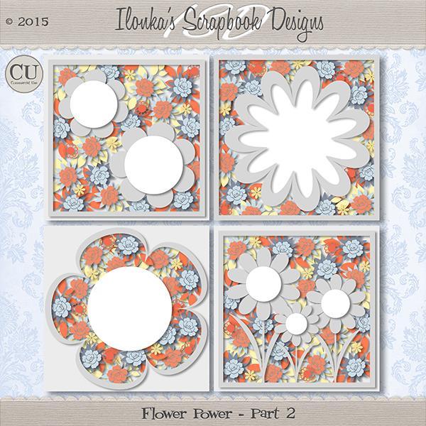 """Pack templates """"Flowers power part 2"""" de Ilonkas Scrap"""