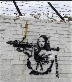 "Banksy, ""Mona Lisa Rocketlauncher"" (Londres - 2007-2008)"