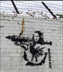 """Banksy, """"Mona Lisa Rocketlauncher"""" (Londres - 2007-2008)"""