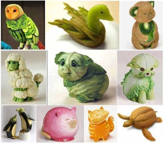 sculptures legumes fruits
