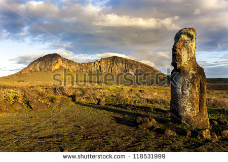 One standing moai in evening sun in Easter Island - stock photo