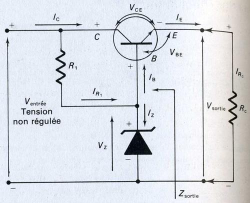 Circuit régulateur de tension série à diode Zener