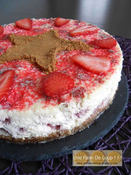 Cheesecake printanier aux fraises Gariguette et speculoos
