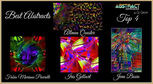 Tracy Crew‎Abstract Expressions Admin · 9 h ·    Best Abstracts ~ 6/2/2019  Congratulations to Jean Bosio‎, Iris Gelbart, Allmen Quester, Fabia Mariana Peverelli!!! Thank you for your Great Abstracts!