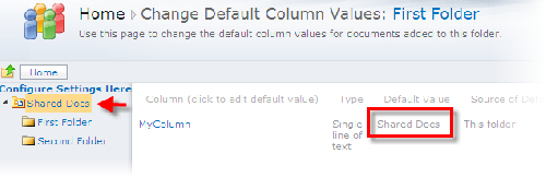Default Values Moss 2010 One