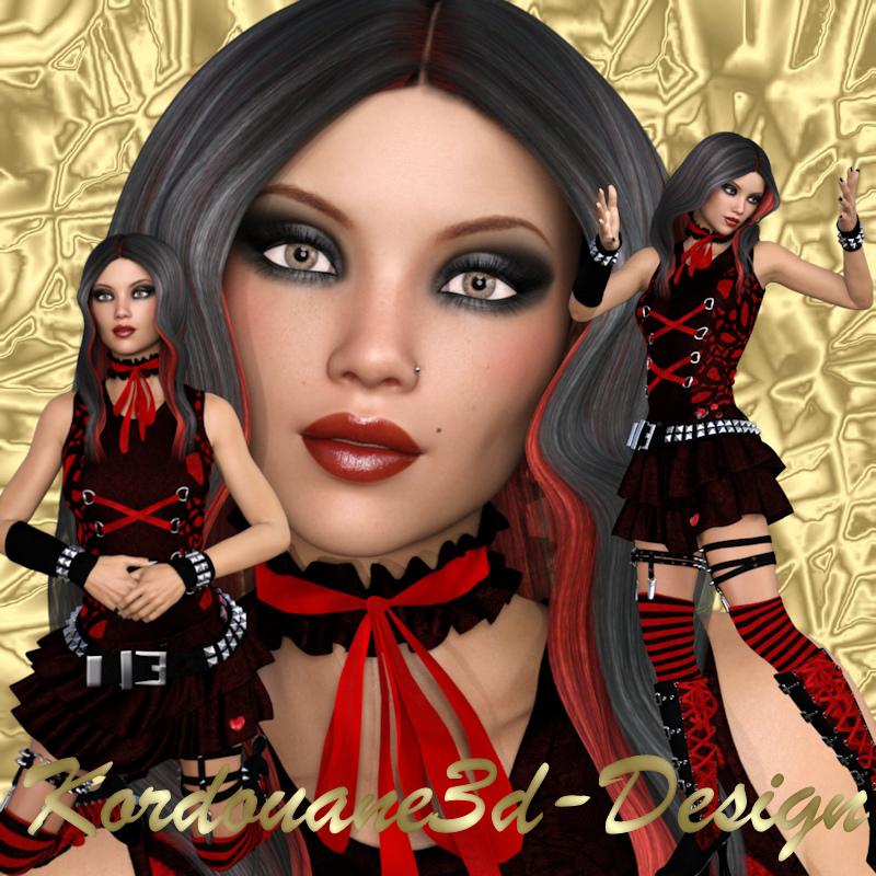 Tressy : Tube de femme gothique en rouge et noir