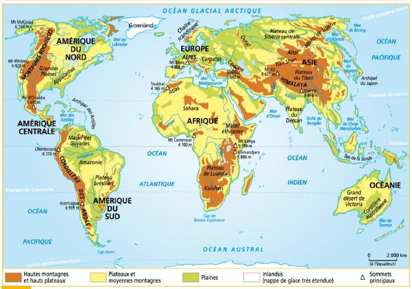Les différents types de reliefs dans le monde