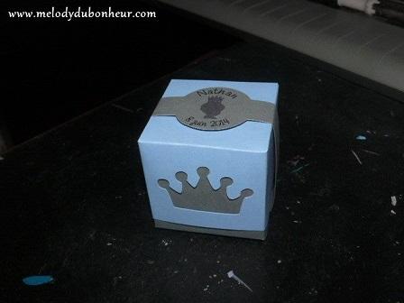Boite à dragées thème prince et couronne
