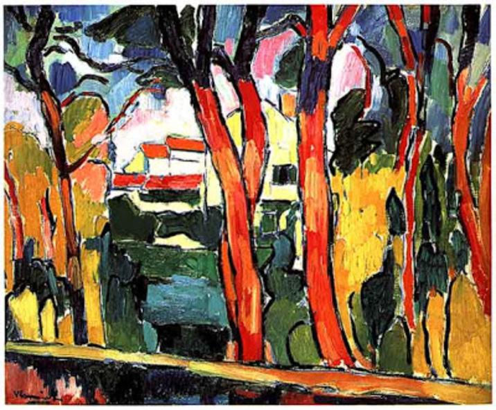 Maurice de Vlaminck, Paysage aux arbres rouges, 1906. Huile sur toile 65 cm sur 81 cm. Centre Pompidou Paris.
