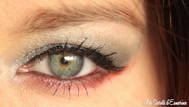 maquillage gris rouge, yeux