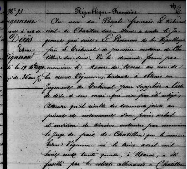 """L'execution de Leon Vigneron"