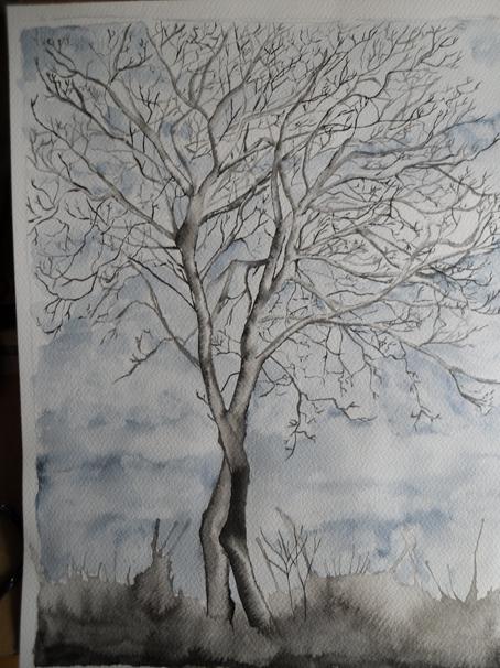 encre de chine et aquarelle d'hiver.....