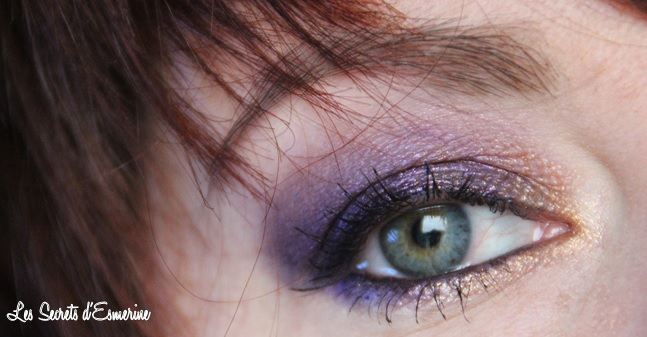 Maquillage de Fêtes : mon Purple Rain & son Eclipse Solaire, makeup violet, or, doré, les secrets d'esmerine