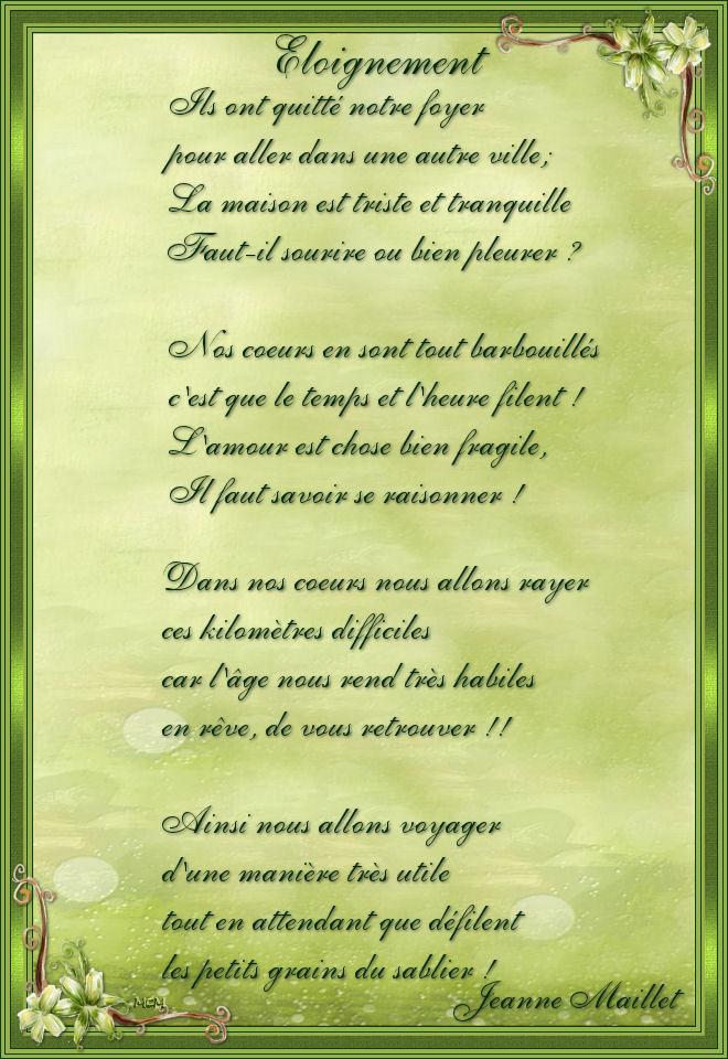 éloignement Poème De Jeanne Maillet Mcreations