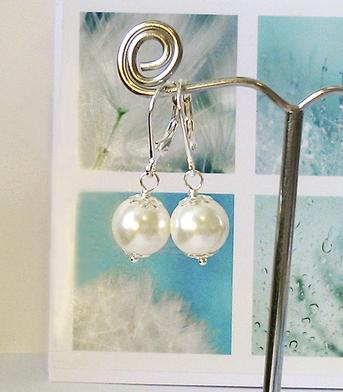 Boucles Dormeuses - Perles de verre nacré renaissance blanc crème 10mm / plaqué argent