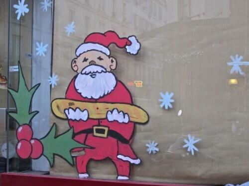 Père Noël en vitrine boulangerie