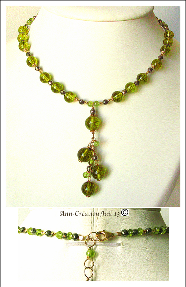 Collier Grappe Quartz Vert Péridot, Péridot, Pyrite / Plaqué Or Gold Filled