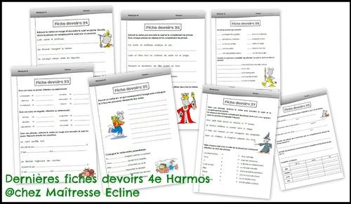 Dernières fiches devoirs de français - 4e Harmos