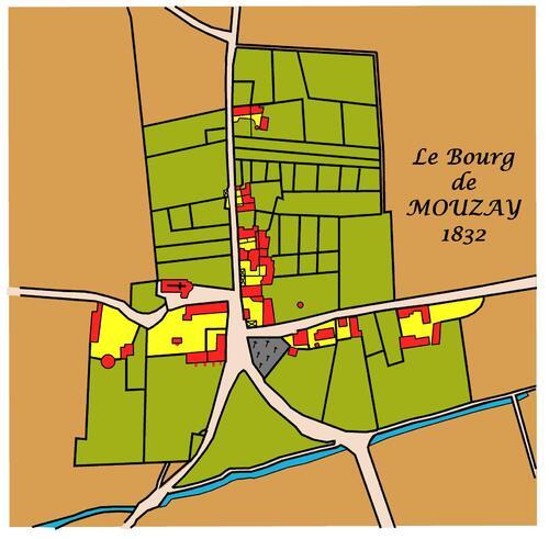 Plan du bourg de Mouzay en 1832